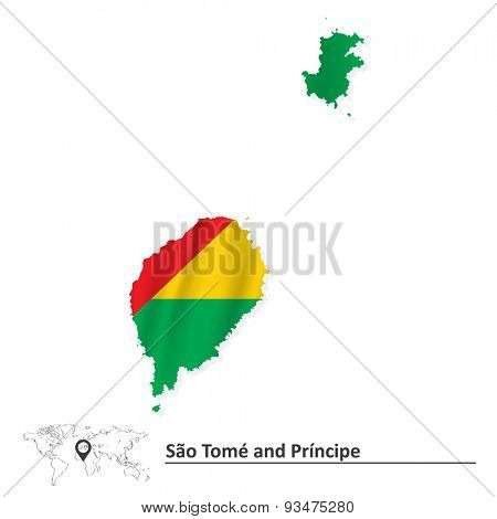 Map of Sao Tome and Principe with flag - vector illustration