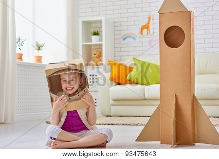 a child plays in the astronaut
