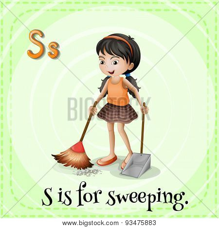 Flashcard of a letter S with a picture of a girl sweeping the floor