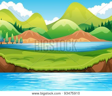 Beautiful scene of lake at daytime