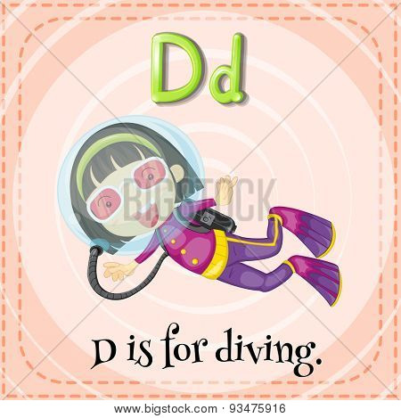 Flashcard letter D is for diving