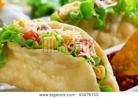 Tasty taco on plate close up