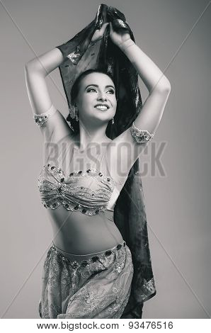 Beautiful Young Woman In Ethnic Attire In The Studio