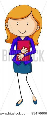 Business woman in blue suit holding a notebook