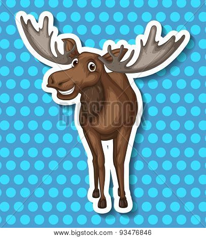 Brown moose smiling with blue background