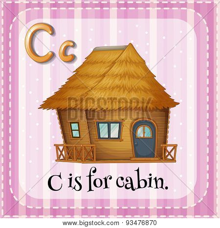Flashcard letter C is for cabin