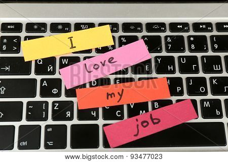 Inscription I love my job on keyboard