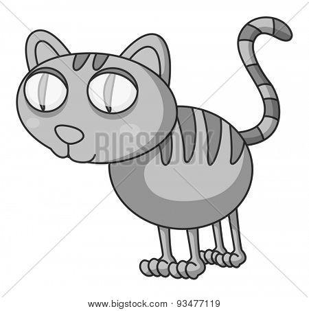Closeup doodles kitten standing alone