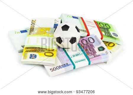 Money and soccer ball isolated on white background