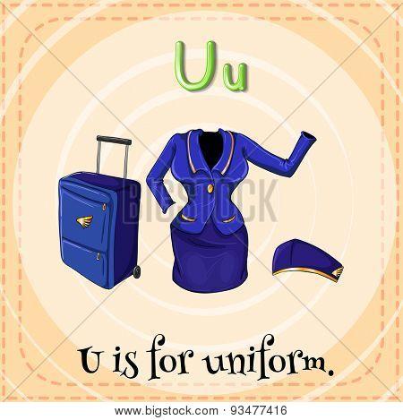Flashcard letter U is for uniform