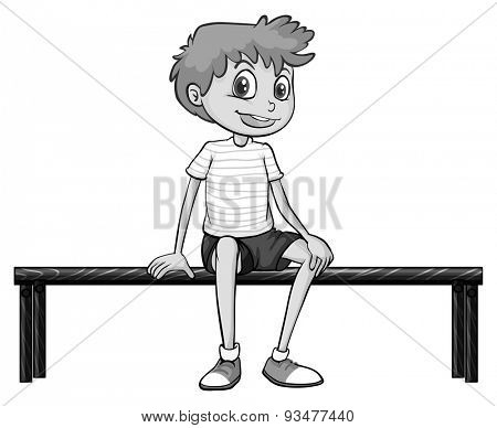 Closeup happy boy sitting on the bench