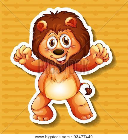 Happy lion standing with orange background