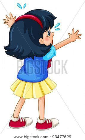 Close up girl in yellow skirt crying