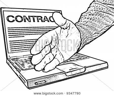 Handshake, Laptop, Contract