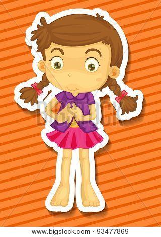 Cute girl getting dress alone