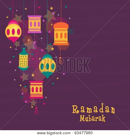 Creative hanging lanterns of different styles on stars decorated background for Islamic holy month of prayers, Ramadan Mubarak celebration.