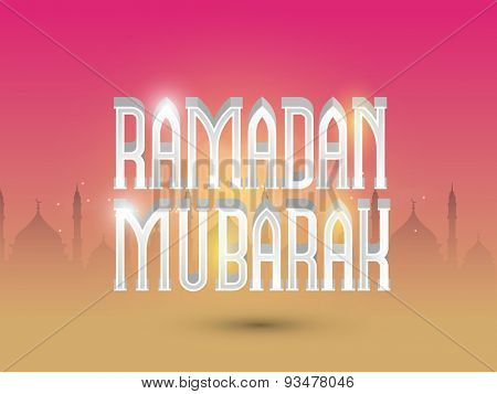 Shiny 3D wishing text Ramadan Mubarak on mosque silhouette decorated magenta and yellow background for Islamic holy month of prayers, celebration.