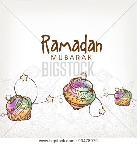 Elegant greeting card with colorful traditional lanterns on shiny floral design decorated background for Islamic holy month of prayers, Ramadan Mubarak celebration.