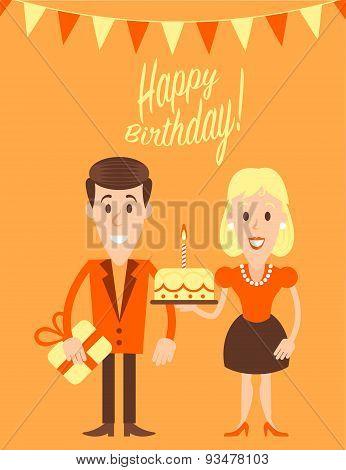 Happy Couple Retro Art Illustration
