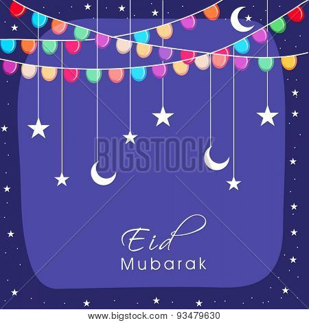 Elegant greeting card design decorated with colorful buntings, hanging stars and crescent moons for Muslim community festival, Eid Mubarak celebration.