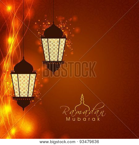 Creative illuminated hanging lamps or lanterns on beautiful glowing floral design decorated brown background for Islamic holy month of prayers, Ramadan Mubarak celebration.