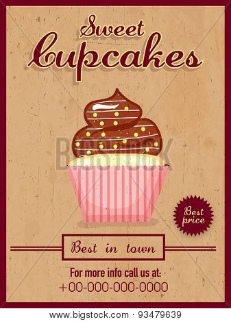 Vintage menu card design of delicious Cupcakes for Sweet Shop.