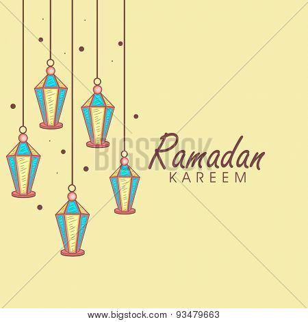 Traditional hanging lanterns decorated elegant greeting or invitation card design for Islamic holy month of prayers, Ramadan Kareem celebration.