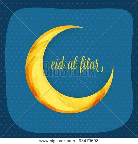 Greeting card design with colorful creative crescent moon and text Eid-al-Fitar for muslim community festival, Eid Mubarak celebration.