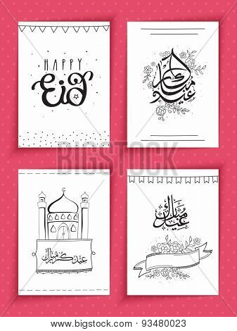Set of beautiful greeting cards or invitation cards for muslim community festival, Eid Mubarak celebration.