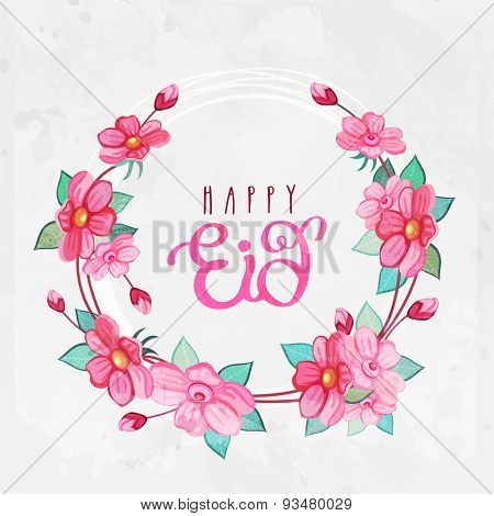Flowers decorated beautiful greeting card for muslim community festival, Eid Mubarak celebration.