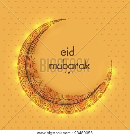 Beautiful greeting card design with floral decorated shiny crescent moon for muslim community festival, Eid Mubarak celebration.