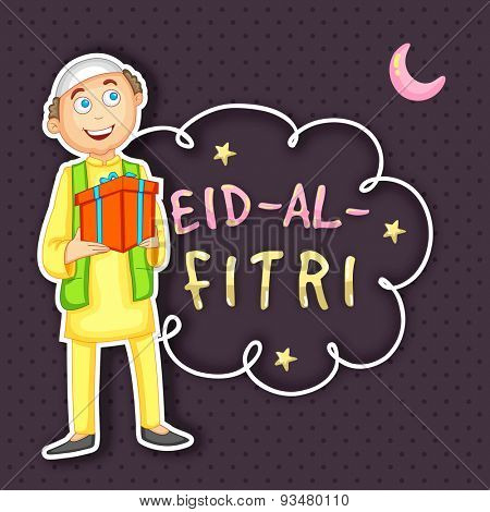 Illustration of a happy islamic boy holding a gift and celebrating on occasion of muslim community festival (Eid-al-Fitri) Eid Mubarak celebration.