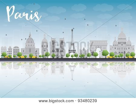 Paris skyline with grey landmarks and blue sky. Vector illustration