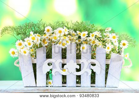 Beautiful bouquet of daisies in ornamental flowerpot on bright background