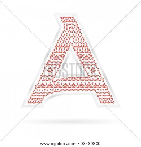 Label with Red knitted Letter A. Vector illustration