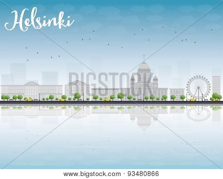 Panorama of Old Town in Helsinki with reflections, Finland. Vector Illustration