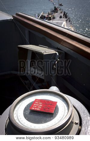 STATEN ISLAND, NY - MAY 24 2015: A close up of the gyro compass on the deck of the USS Barry (DDG 52) moored at Sullivans Pier in Staten island during Fleet Week NY 2015.