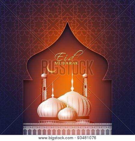 Elegant greeting card with creative beautiful mosque and crescent moon for muslim community festival, Eid Mubarak celebration.