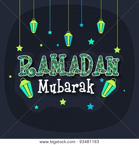 Beautiful floral design decorated creative text Ramadan Mubarak with hanging lanterns and stars, Elegant greeting card design for Islamic holy month of prayers, celebration.