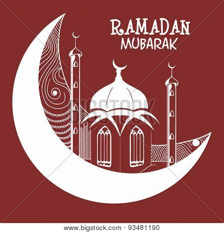 Beautiful greeting card with mosque situated on a moon, concept for Islamic holy month of fasting and prayers celebrations, Ramadan Mubarak celebrations.