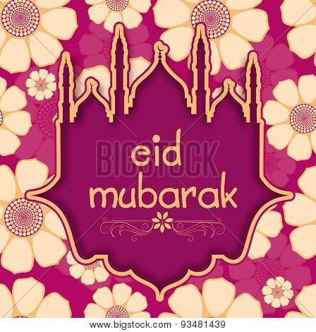 Stylish cutout of mosque shape with text Eid Mubarak for muslim community festival celebration.