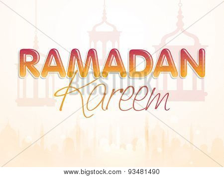 Stylish text Ramadan Kareem on hanging lanterns and mosque silhouette decorated background for Islamic holy month of prayers, celebration.