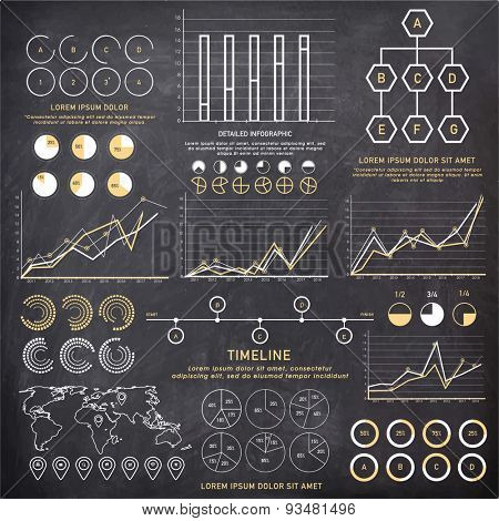 big set of Business Infographics elements with different statistical graphs and charts to present your data effectively.
