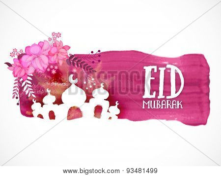 Creative illustration of Mosque on paint stroke with pink flowers on white background for muslim community festival, Eid Mubarak celebration.