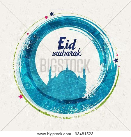 Muslim community festival, Eid Mubarak celebration with illustration of mosque made by paint stroke on grungy background.