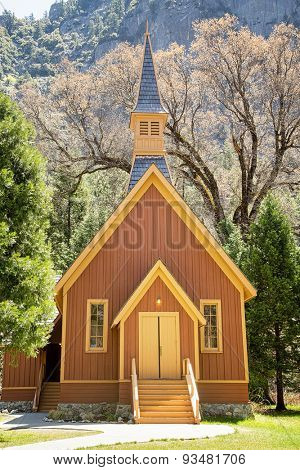 Front view of Yosemite Valley Chapel, California, USA.