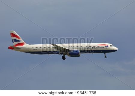 COPENHAGEN, DENMARK - MAY 13: British Airways A321 approaching Kastrup Airport, May 13th 2015. British Airways if the flag carrier airline of the United Kingdom.