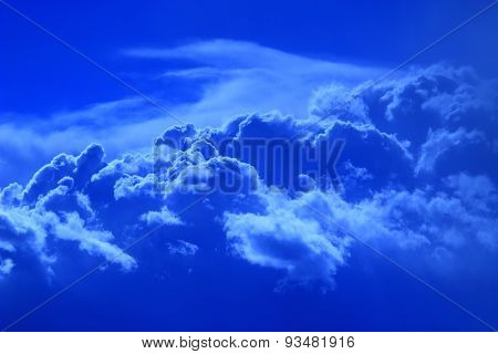 Landscape With Sky And Beautiful Picturesque Blue Cumulus  Clouds