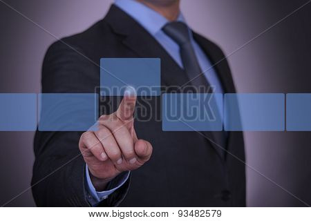 Businessman Touching Visual Screen
