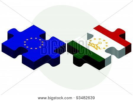 European Union And Tajikistan Flags